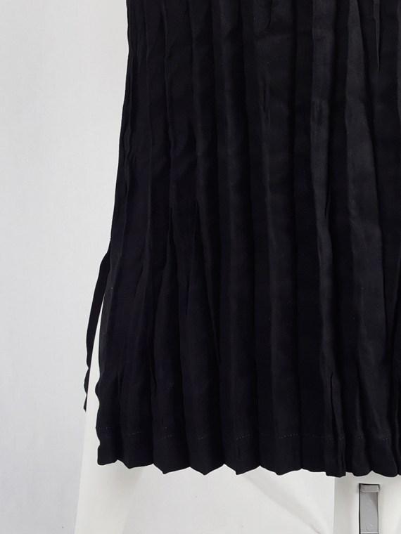 vintage Issey Miyake Fete black suede pleated maxi skirt 130816