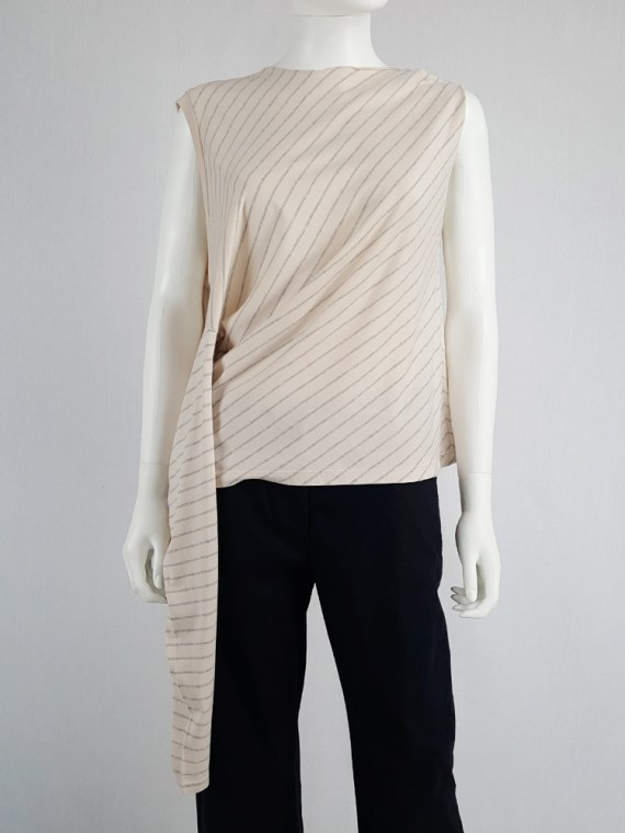 vintage Maison Martin Margiela beige striped sideways worn jumper spring 2005 141034