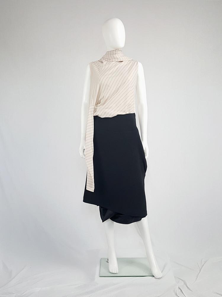vintage Maison Martin Margiela black sideways worn skirt spring 2005 141933