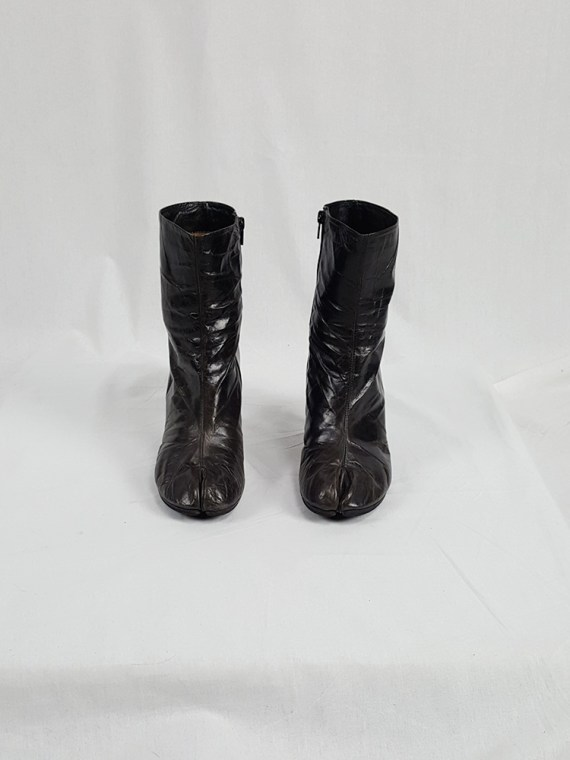 vintage Maison Martin Margiela brown tabi boots with stiletto heel spring 2007 224055(0)