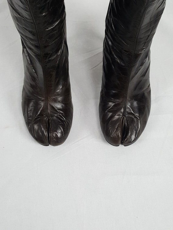vintage Maison Martin Margiela brown tabi boots with stiletto heel spring 2007 224108