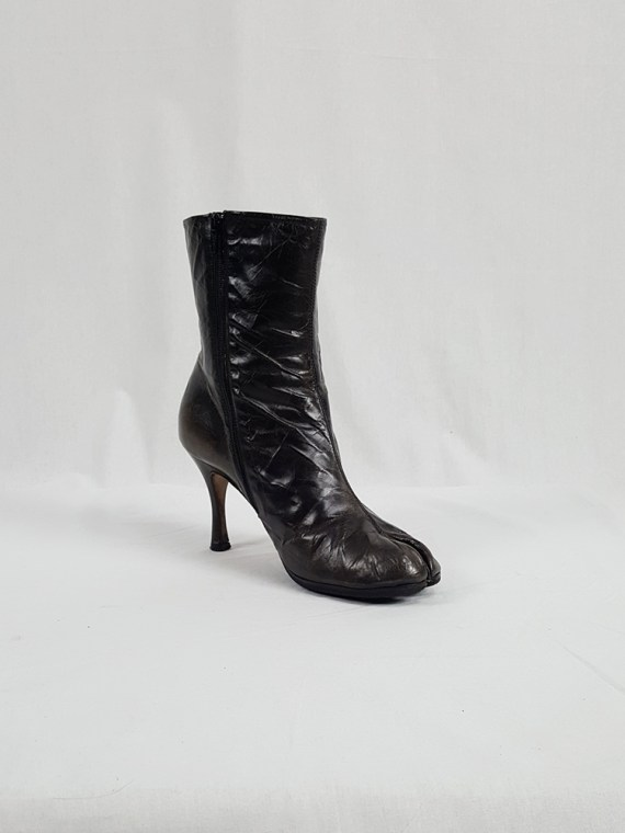 vintage Maison Martin Margiela brown tabi boots with stiletto heel spring 2007 224209