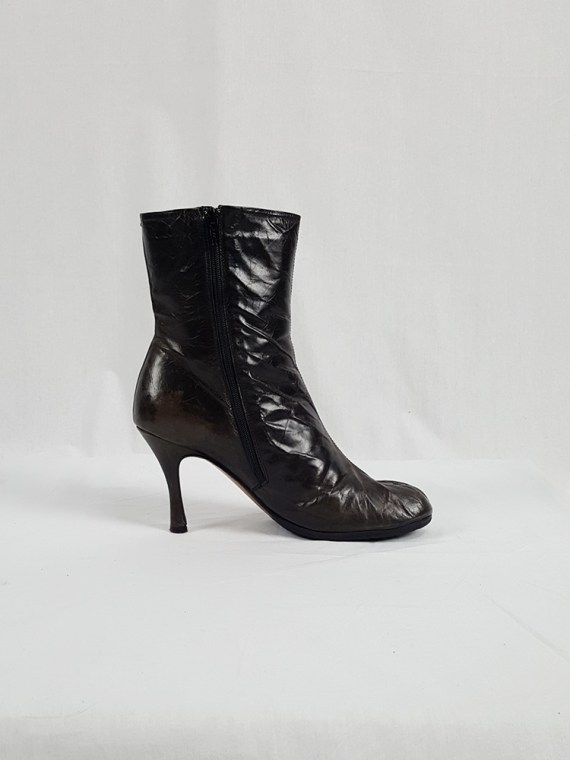 vintage Maison Martin Margiela brown tabi boots with stiletto heel spring 2007 224219