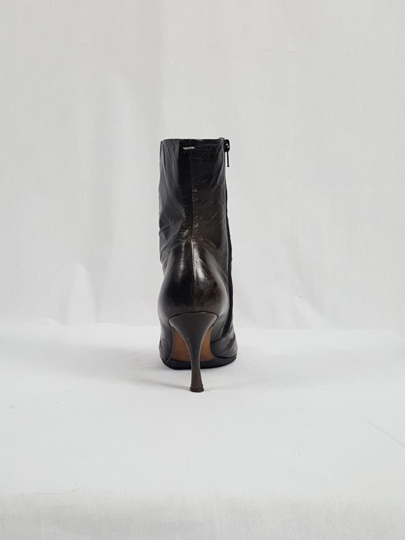 vintage Maison Martin Margiela brown tabi boots with stiletto heel spring 2007 224238