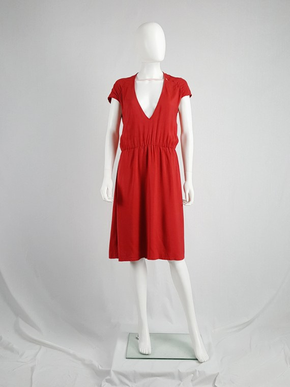 vintage Maison Martin Margiela red dress with pink strap across the chest spring 2007 102809