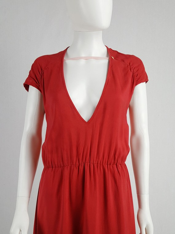 vintage Maison Martin Margiela red dress with pink strap across the chest spring 2007 102826