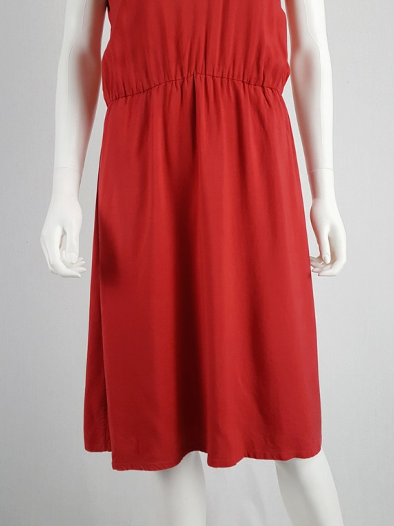 vintage Maison Martin Margiela red dress with pink strap across the chest spring 2007 102841