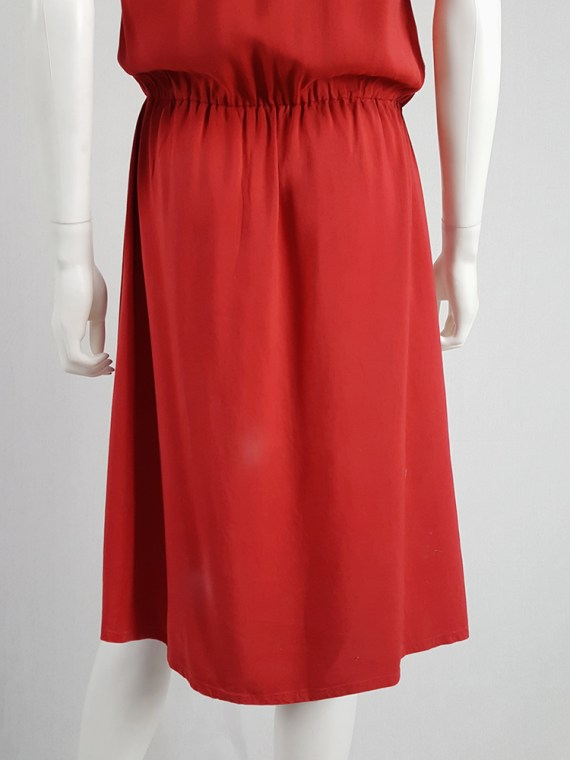 vintage Maison Martin Margiela red dress with pink strap across the chest spring 2007 103002(0)