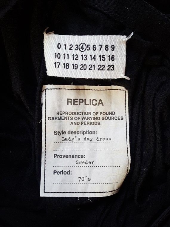 vintage Maison Martin Margiela replica black 1970s day dress spring 2006 102217