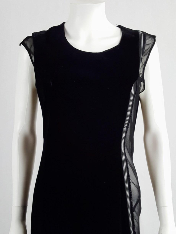 Comme des Garçons black velvet dress with sheer inserts fall 1997