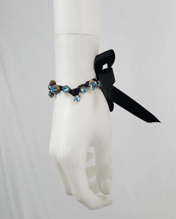 Maison Martin Margiela black bracelet with blue gemstones — spring 2004