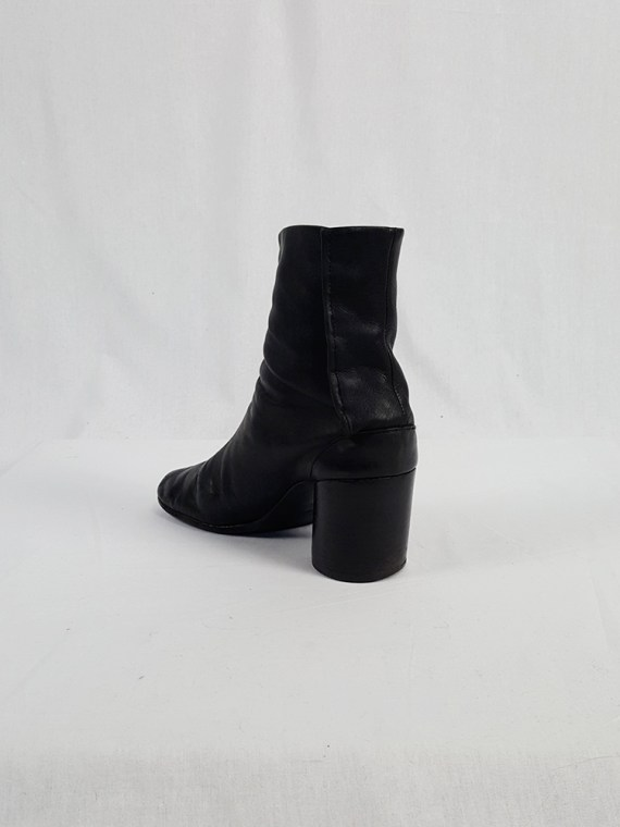 vintage Maison Martin Margiela black leather tabi boots with block heel 1990s archive 111824