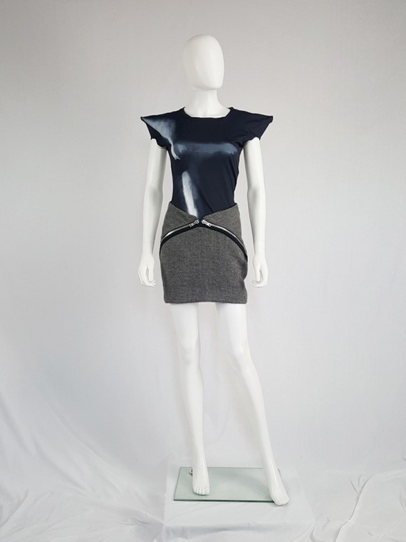 Maison Martin Margiela grey double zipper skirt — fall 2008