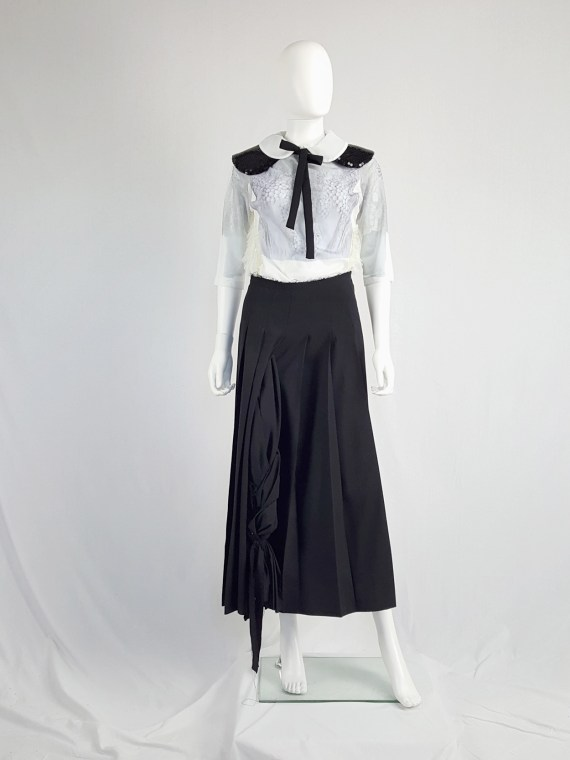 vintage Comme des Garcons black pleated skirt with oversized braid spring 2003 123052