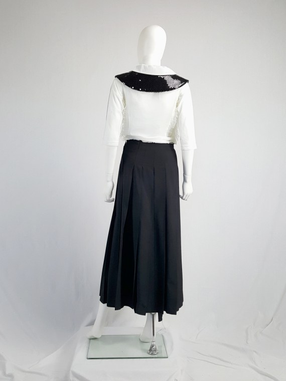 vintage Comme des Garcons black pleated skirt with oversized braid spring 2003 123520