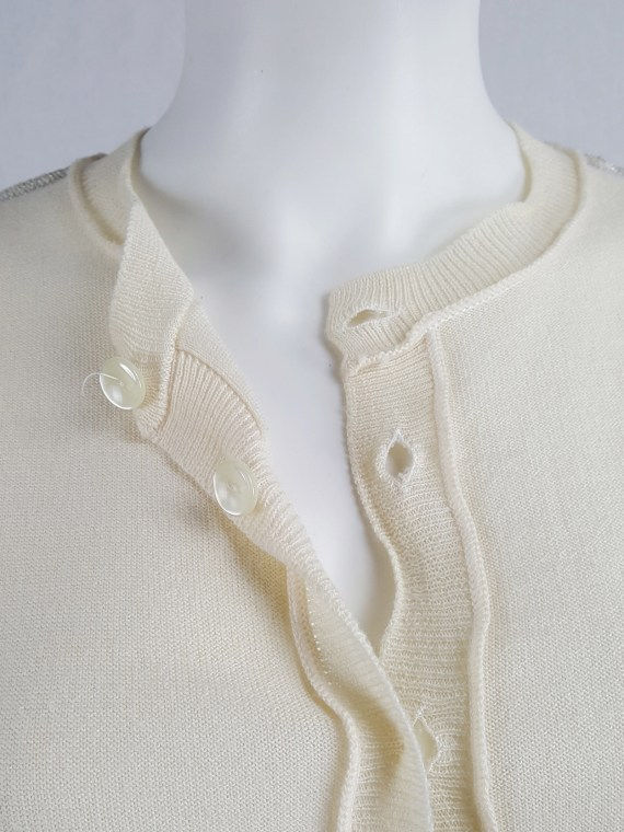Maison Martin Margiela beige inside out jumper with loose threads — spring 2004