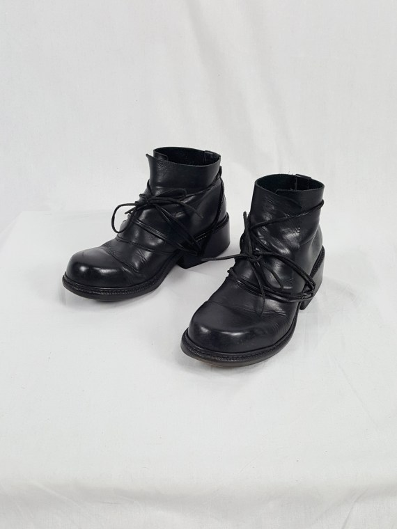 vaniitas vintage Dirk Bikkembergs black boots with laces through the soles 90s archive 120650