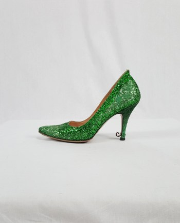 Maison Martin Margiela green glitter afterparty pumps (38) — spring 2005