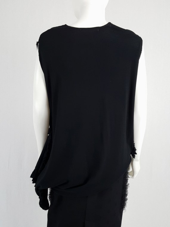 vintage Comme des Garcons black draped top with side ruffles spring 2013 125259(0)