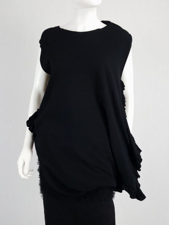 vintage Comme des Garcons black draped top with side ruffles spring 2013 125623