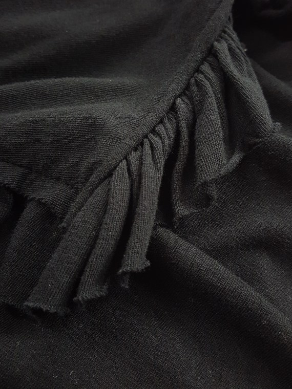 vintage Comme des Garcons black draped top with side ruffles spring 2013 131637