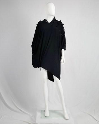 Junya Watanabe black draped dress with pyramid studs — fall 2015
