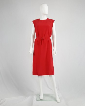 Maison Martin Margiela red oversized belted dress — spring 2001