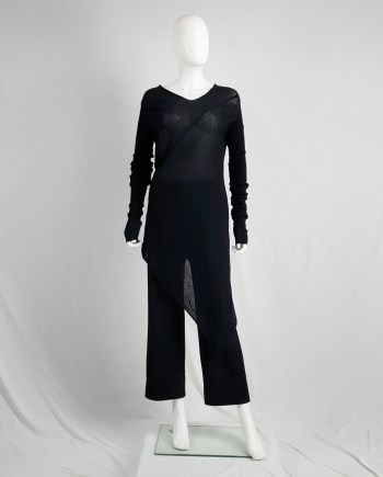 Rick Owens CRUST black long jumper with asymmetric hem — fall 2009