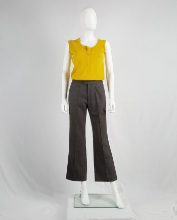 Maison Martin Margiela brown trousers with stitched front pleat — 1996/1998