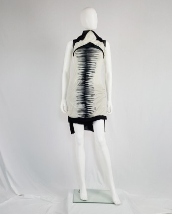 Rick Owens CREATCH beige and black geometric top with stripes — spring 2008
