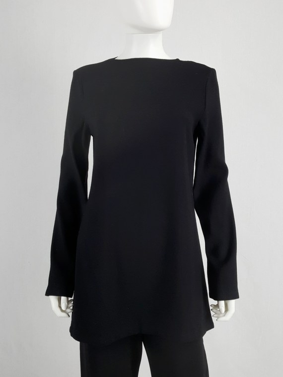 vaniitas vintage Ann Demeulemeester black tunic with deep cut out back fall 2015 100938