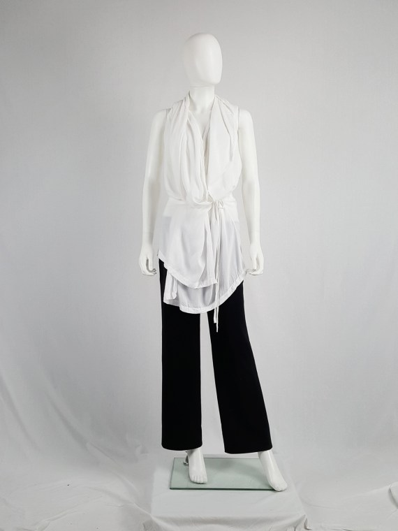 vaniitas vintage Ann Demeulemeester white sleevesless draped top with hood spring 2009 115141