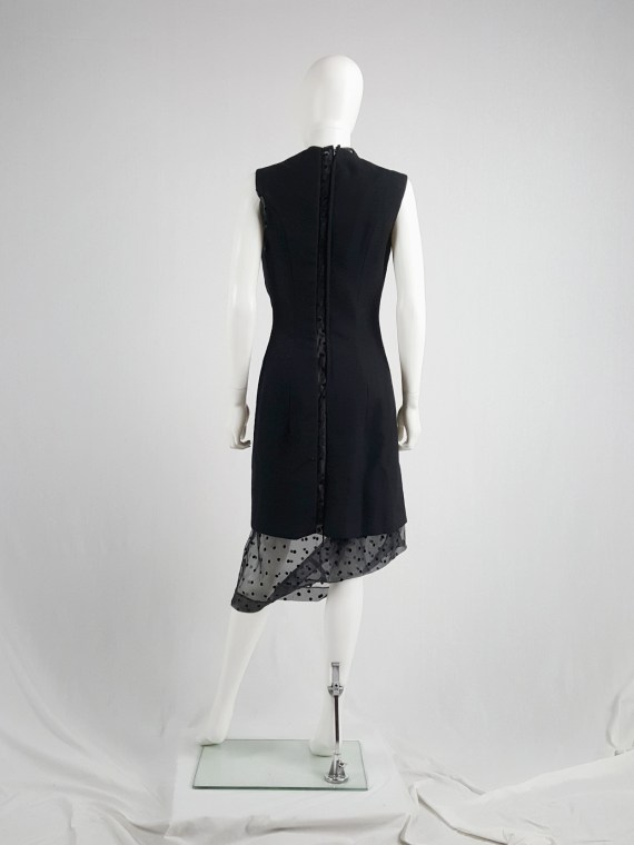 vaniitas vintage Comme des Garçons black sheer polkadot dress with wool paneling fall 1997 174439