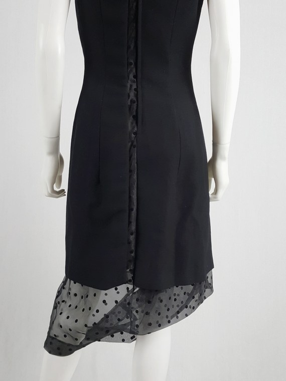 vaniitas vintage Comme des Garçons black sheer polkadot dress with wool paneling fall 1997 174528
