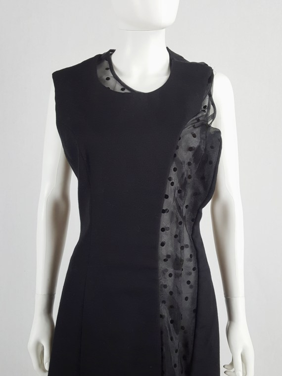 Comme des Garçons black sheer polkadot dress with wool paneling — fall 1997