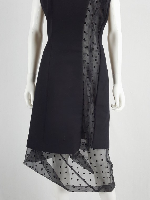 vaniitas vintage Comme des Garçons black sheer polkadot dress with wool paneling fall 1997 174710