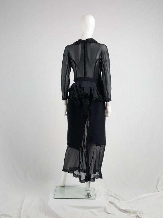 vaniitas vintage Comme des Garçons black sheer skirt with wool paneling fall 1997 154553