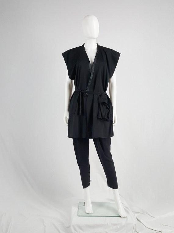 vaniitas vintage Haider Ackermann black sleeveless kimono vest 175809