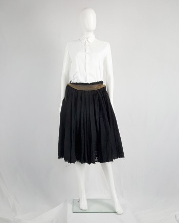 Junya Watanabe black pleated skirt with multi zipper waist — spring 2005