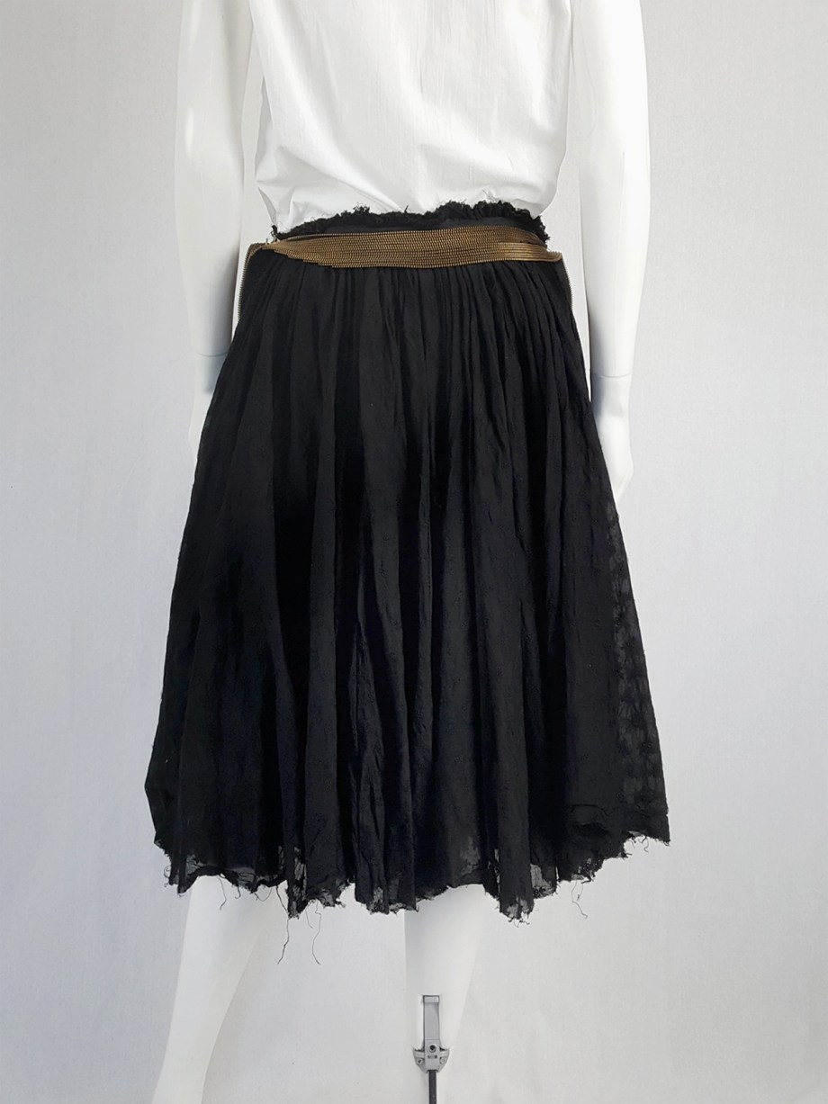 Junya Watanabe black pleated skirt with multi zipper waist — spring 2005