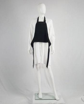Lieve Van Gorp black short apron with belt strap and zipper — 1990's