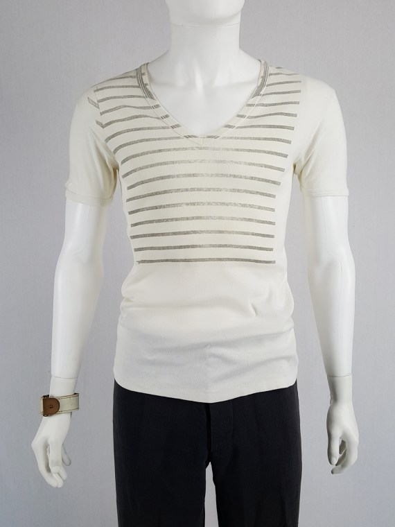 Maison Martin Margiela artisanal t-shirt with striped print — spring 1999