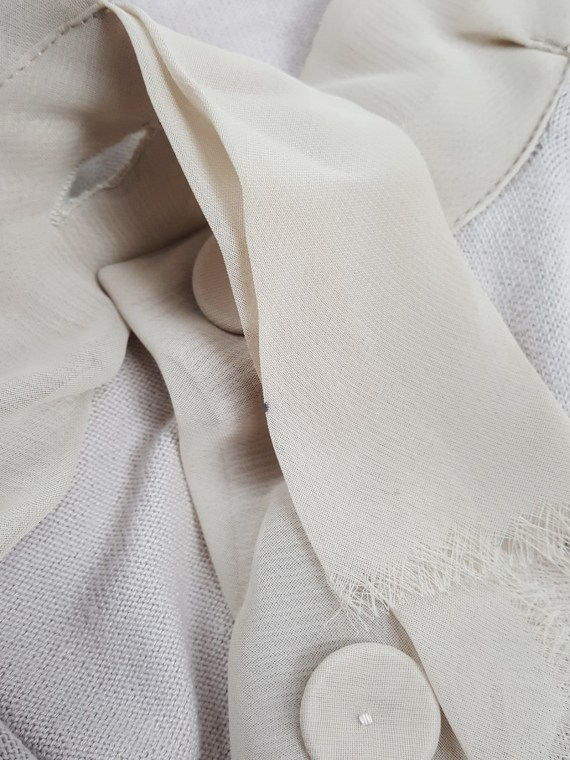 Maison Martin Margiela beige cardigan with silk torn trims — spring 2006