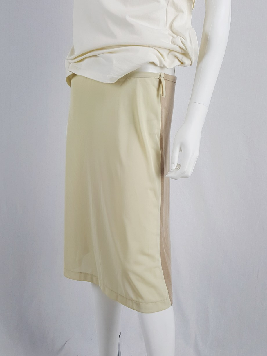 vaniitas vintage Maison Martin Margiela beige skirt with brown back fall 1997 181237