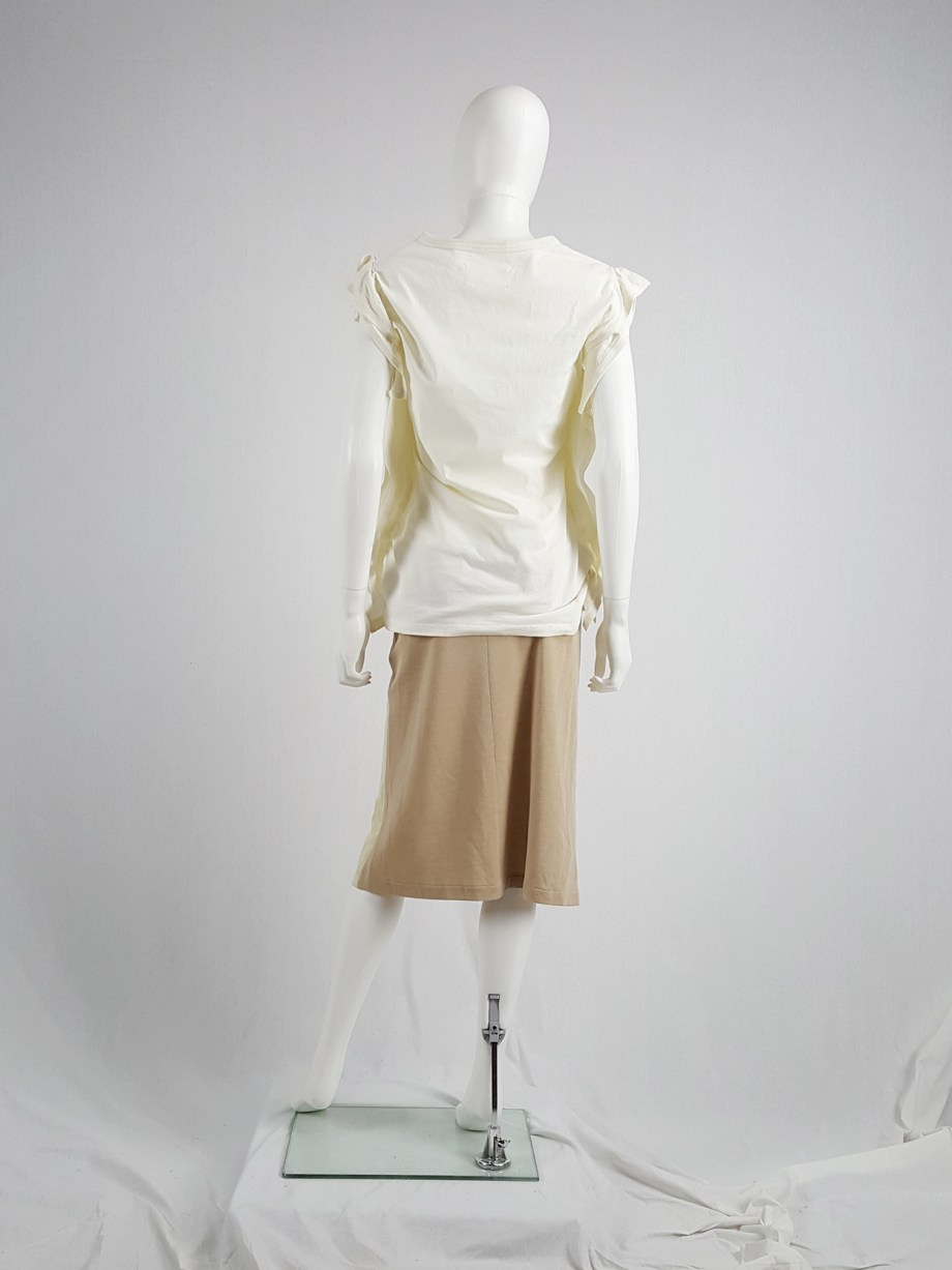 vaniitas vintage Maison Martin Margiela beige skirt with brown back fall 1997 181337
