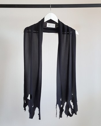 Maison Martin Margiela black scarf with burned edges — fall 2005