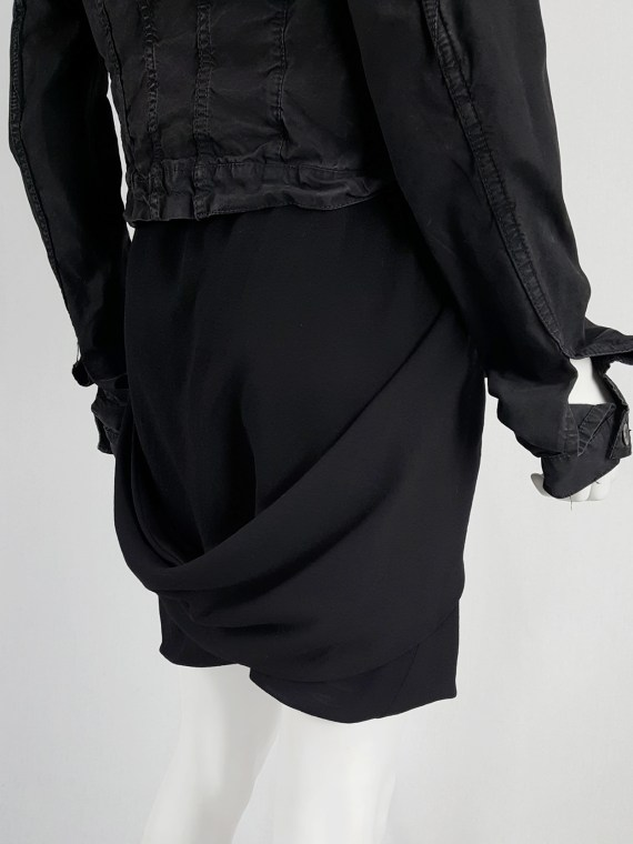 vaniitas vintage Rick Owens GLEAM black shorts with front and back drape runway fall 2010 151942