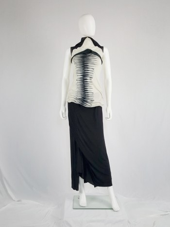 Rick Owens Lilies black maxi skirt with front drape