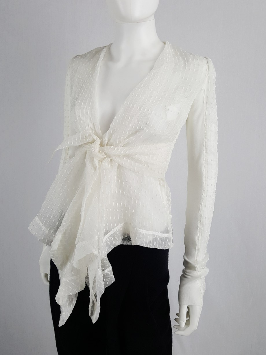 Rick Owens white sheer summer jacket with front drape