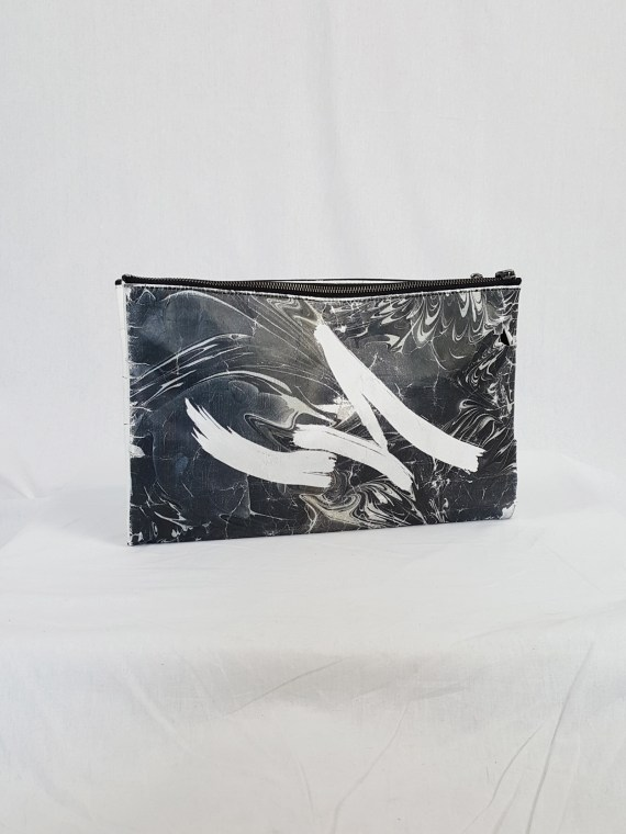 vaniitas vintage Yohji Yamamoto × Matatabi black and white marbled paper clutch bag fall 2015 133106